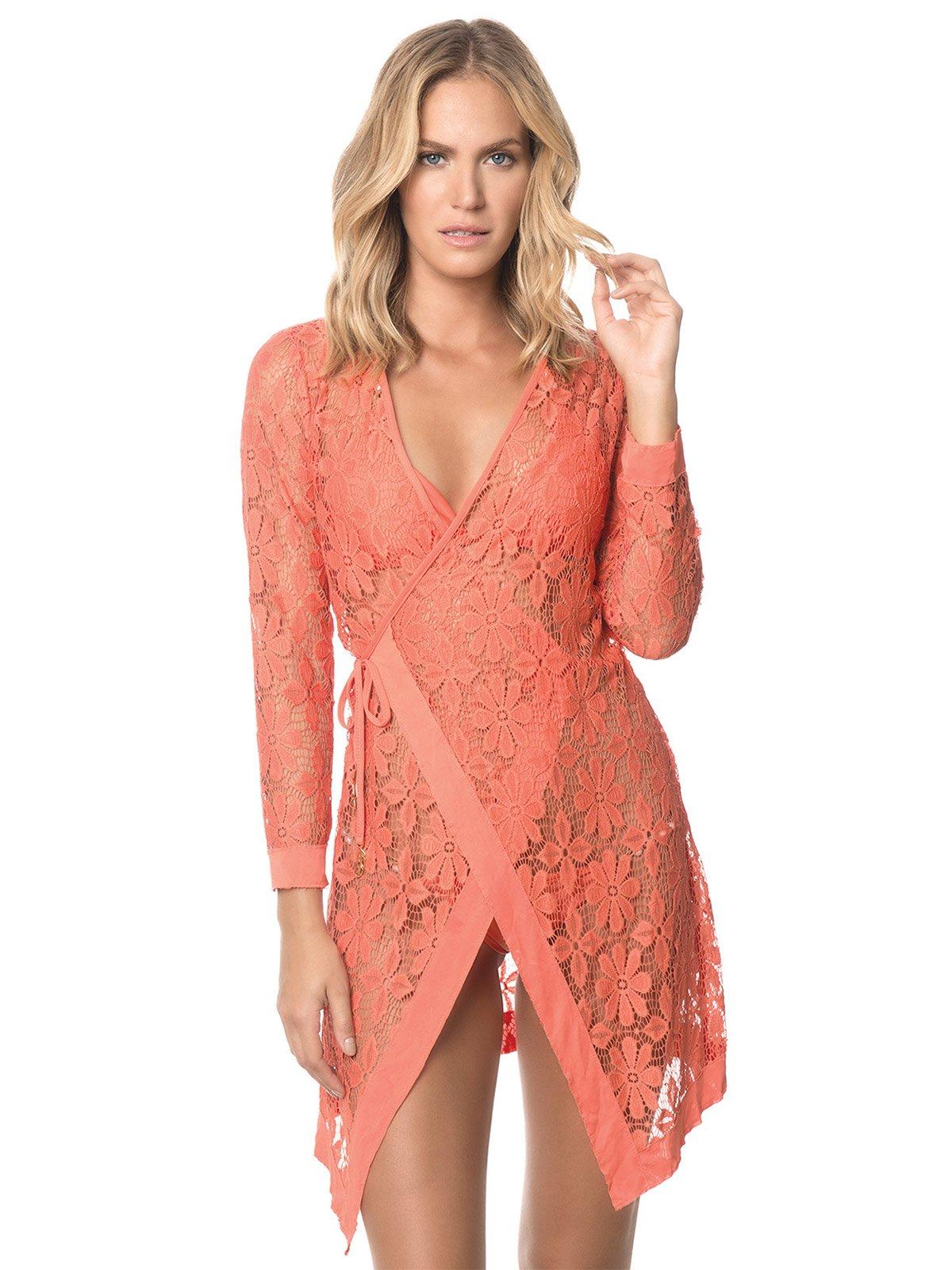 Kaftans Conver Ups Orange Lace Beach Wrap Dress Coral