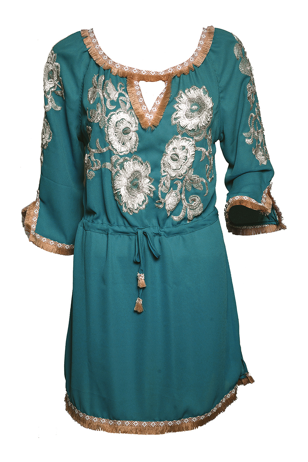 08c3d099d25 Green Flower-embroidered Beach Dress - Dandelion Tunic - Despi