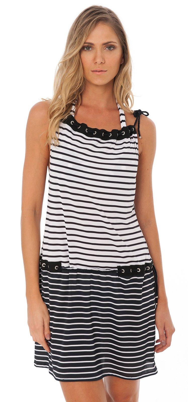 5e98bad322 Black and white beach dress with rhinestone eyelets - EYELET TUNIC BLACK  GEOMETRIC ...