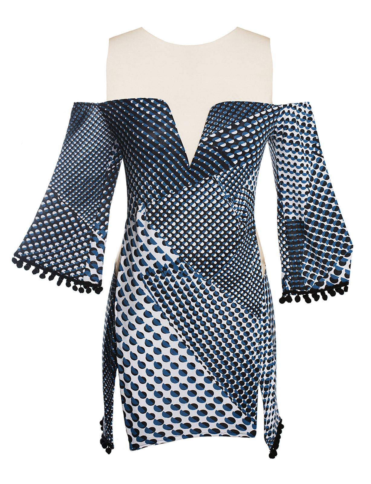 d70e472650c2 Διάφανο μπλε φόρεμα παραλίας με γεωμετρικά μοτίβα - New Hype - Despi