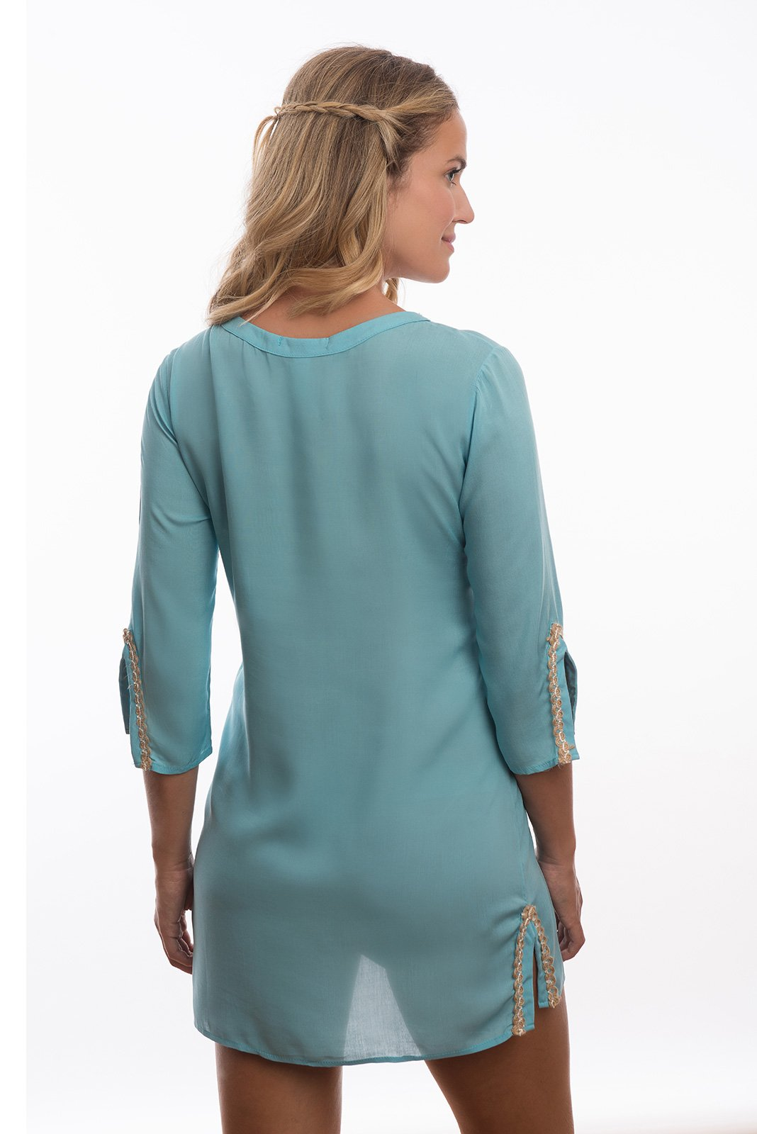 Pale Blue Flower Embroidered Beach Tunic Rajasthan