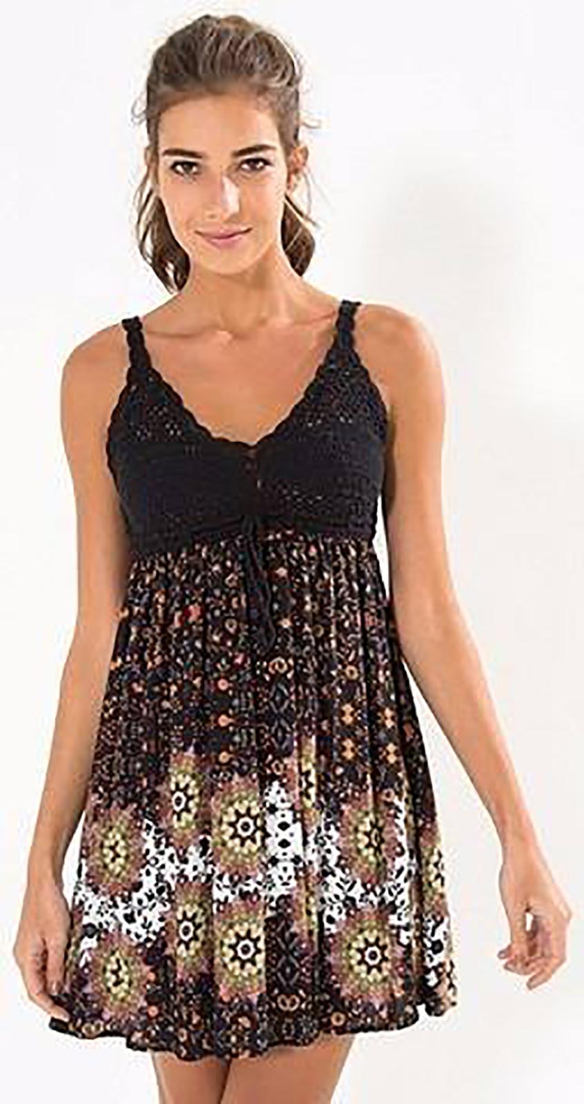 Black Beach Dress With Crochet Top Vestido Almedina Farm