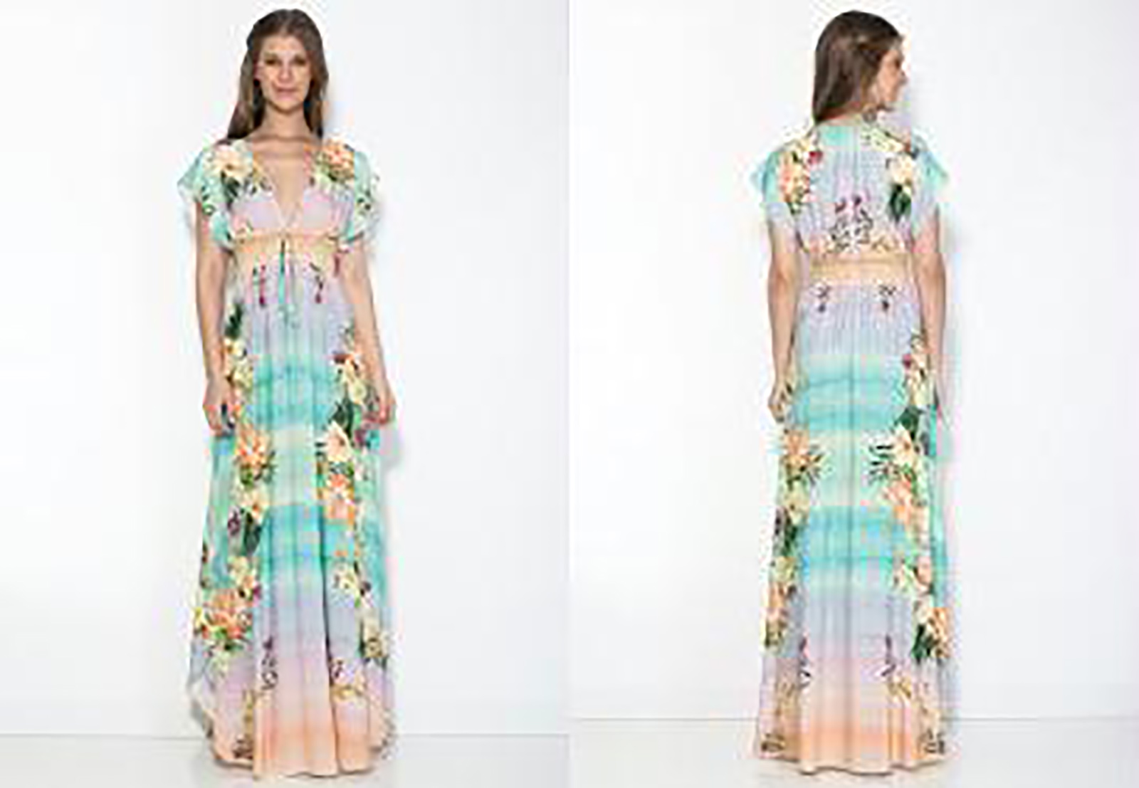 9949661c2 ... Vestido comprido de praia, floral pastel em degradé - VESTIDO LONGO  HORIZONTE FLORIDO