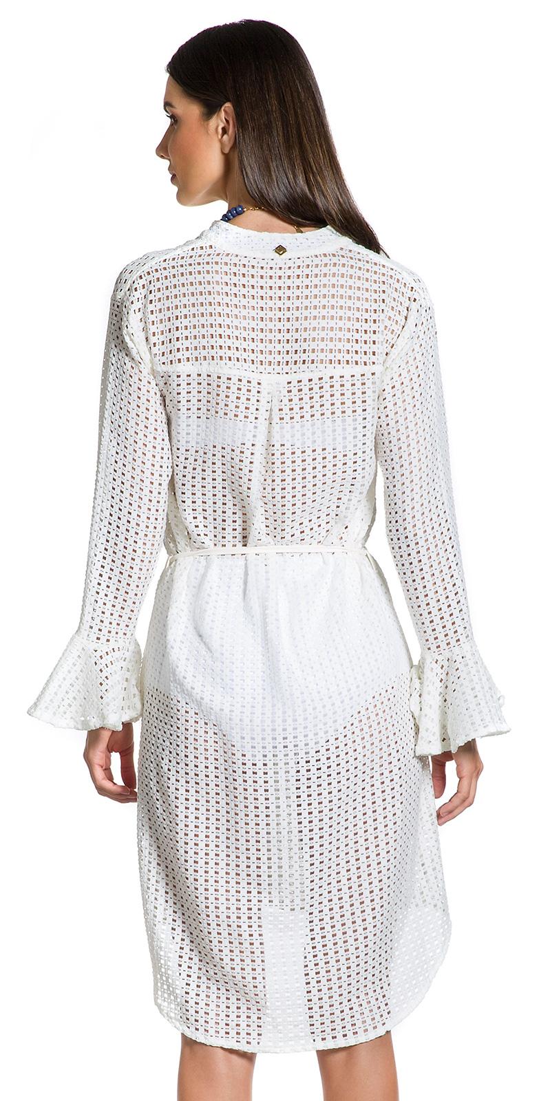 a2c9a29cca Vestido Camisa Branco Assimétrico E Rendado - Renda Of White ...