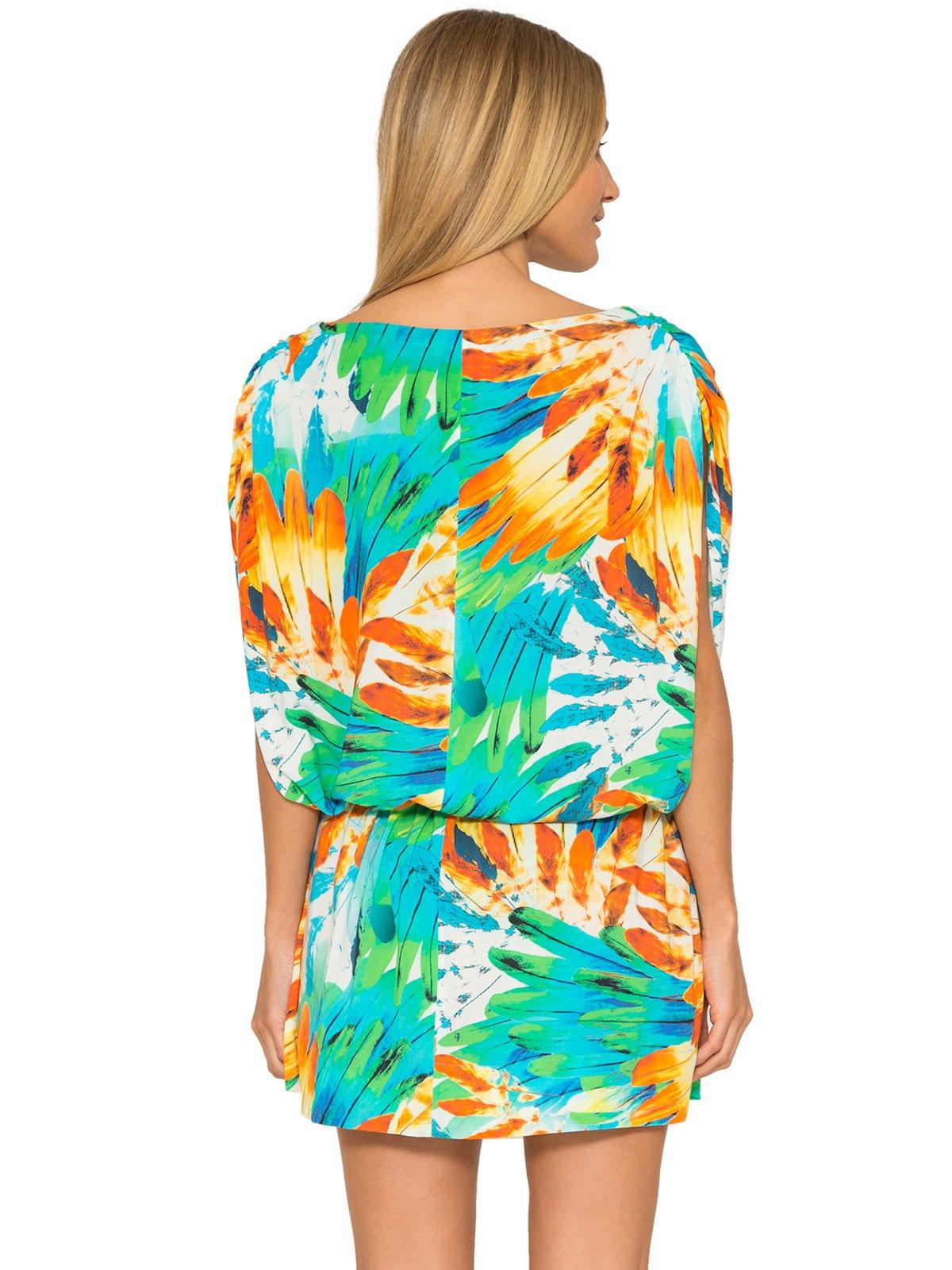 a0fe2d4a7691 ... Krátke plážové šaty bez rukávov so vzorom pierok - DRAPED COVER UP  IMPERIAL ...