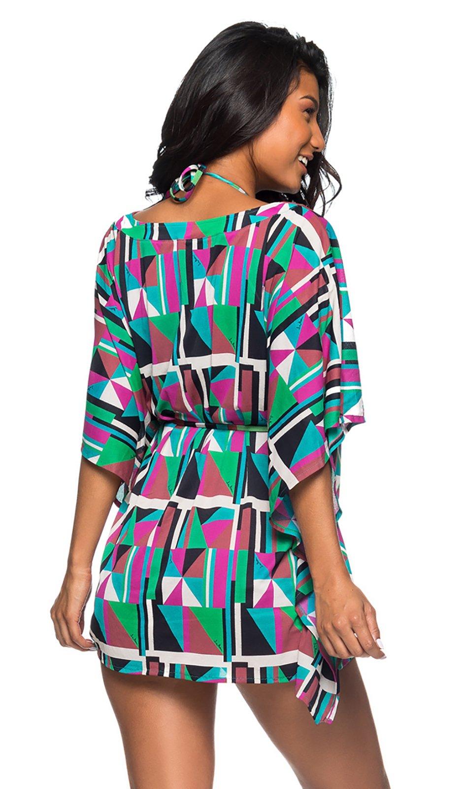 69a4d7169e67f Colorful Geometric Caftan Style Beach Dress - Rolote Delaunay - Lua ...