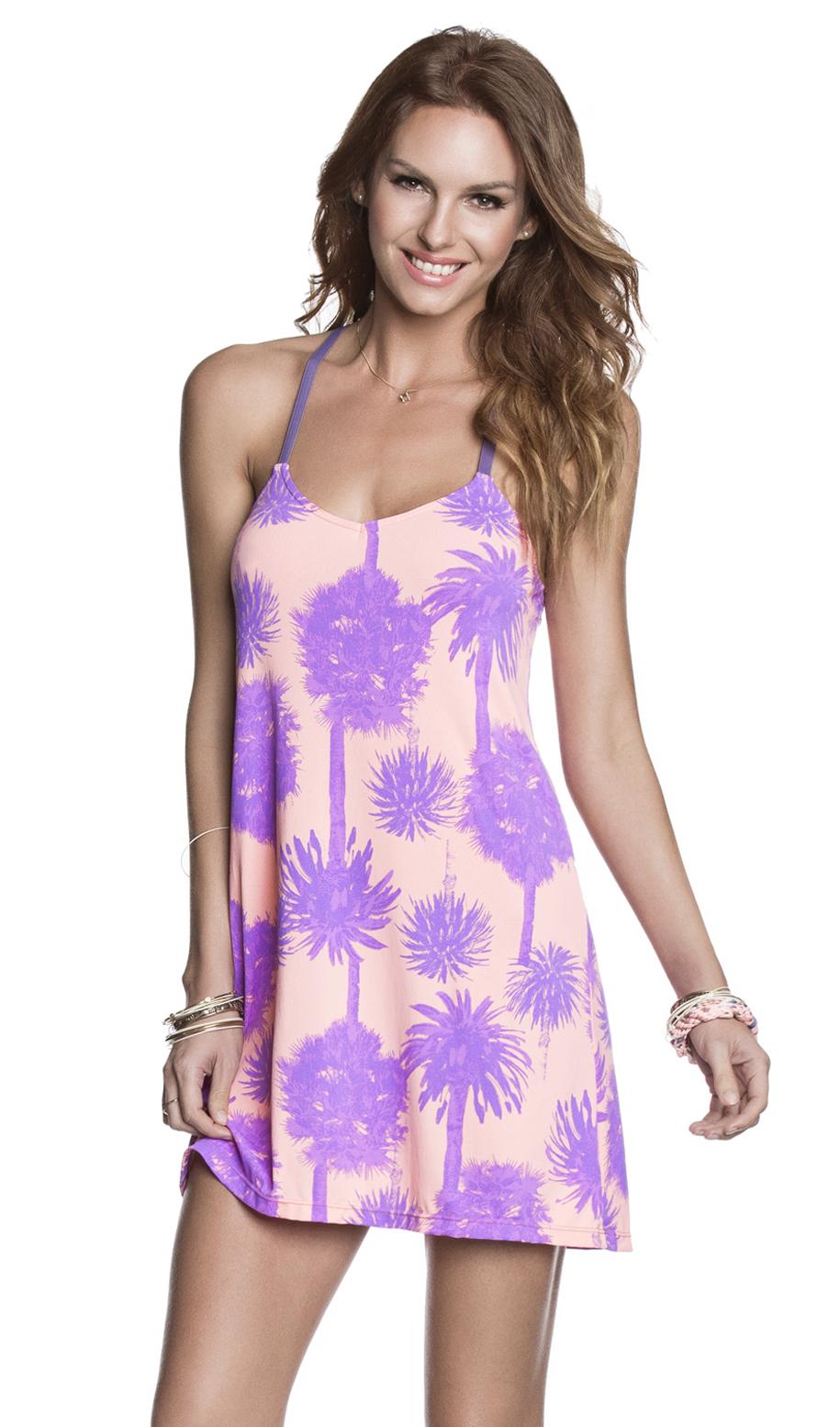 maaji robe de plage rose mauve motif palmiers hi mai tai