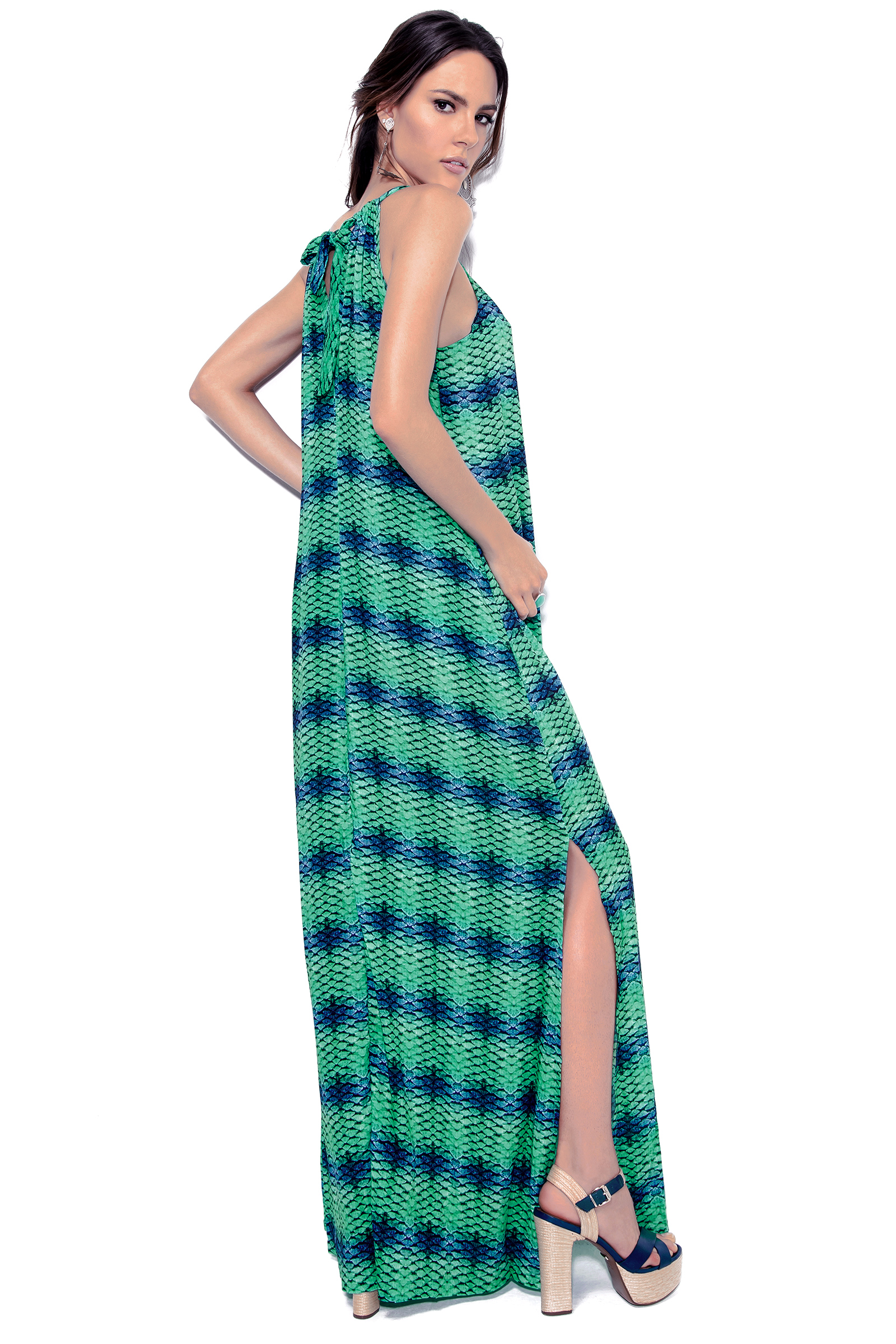 d605adb261e0 ... Lang kjole med slids i blåt og grønt mønster - DRESS ESCAMAS AQUA ...