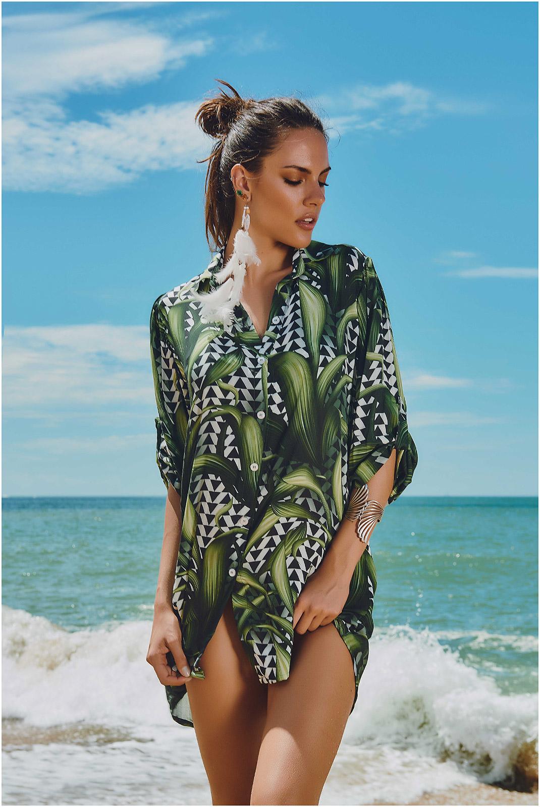 Shirt kleid mit geometrischem pflanzenmuster dunas palm for Palm springs tattoo shops