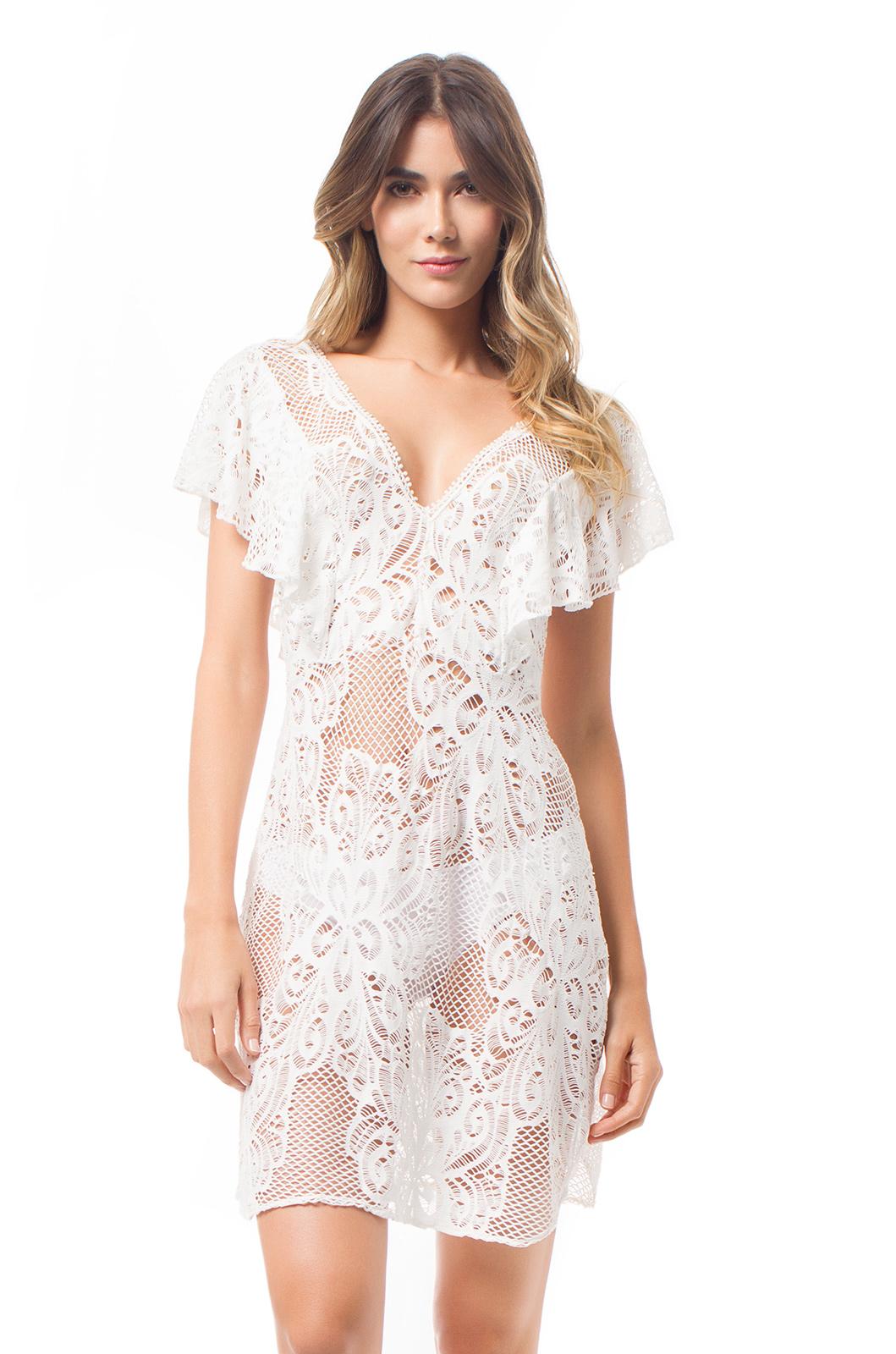 16f11e831cc Short White lace dress With Flounce Sleeves - Mapale Dress - Saha