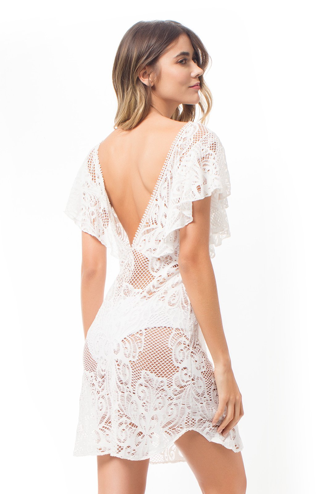 97cfeadbe65 ... Short white lace dress with flounce sleeves - MAPALE DRESS ...