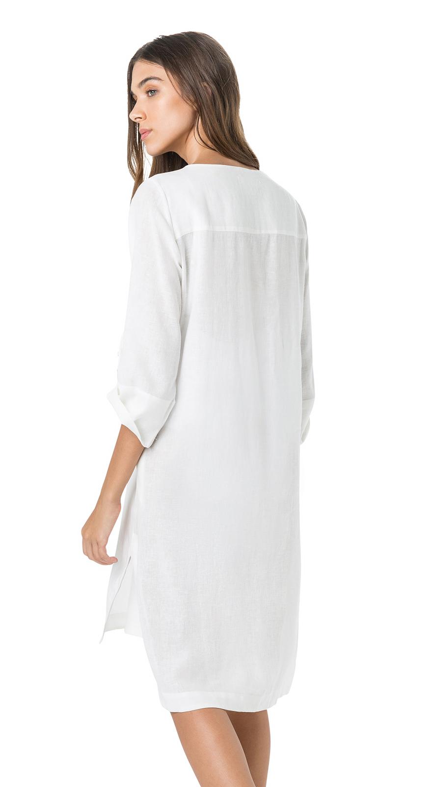 c09d2b134de3 Λευκό φόρεμα παραλίας με ντεκολτέ σε σχήμα V και μανίκι 3 4 - Tunica ...