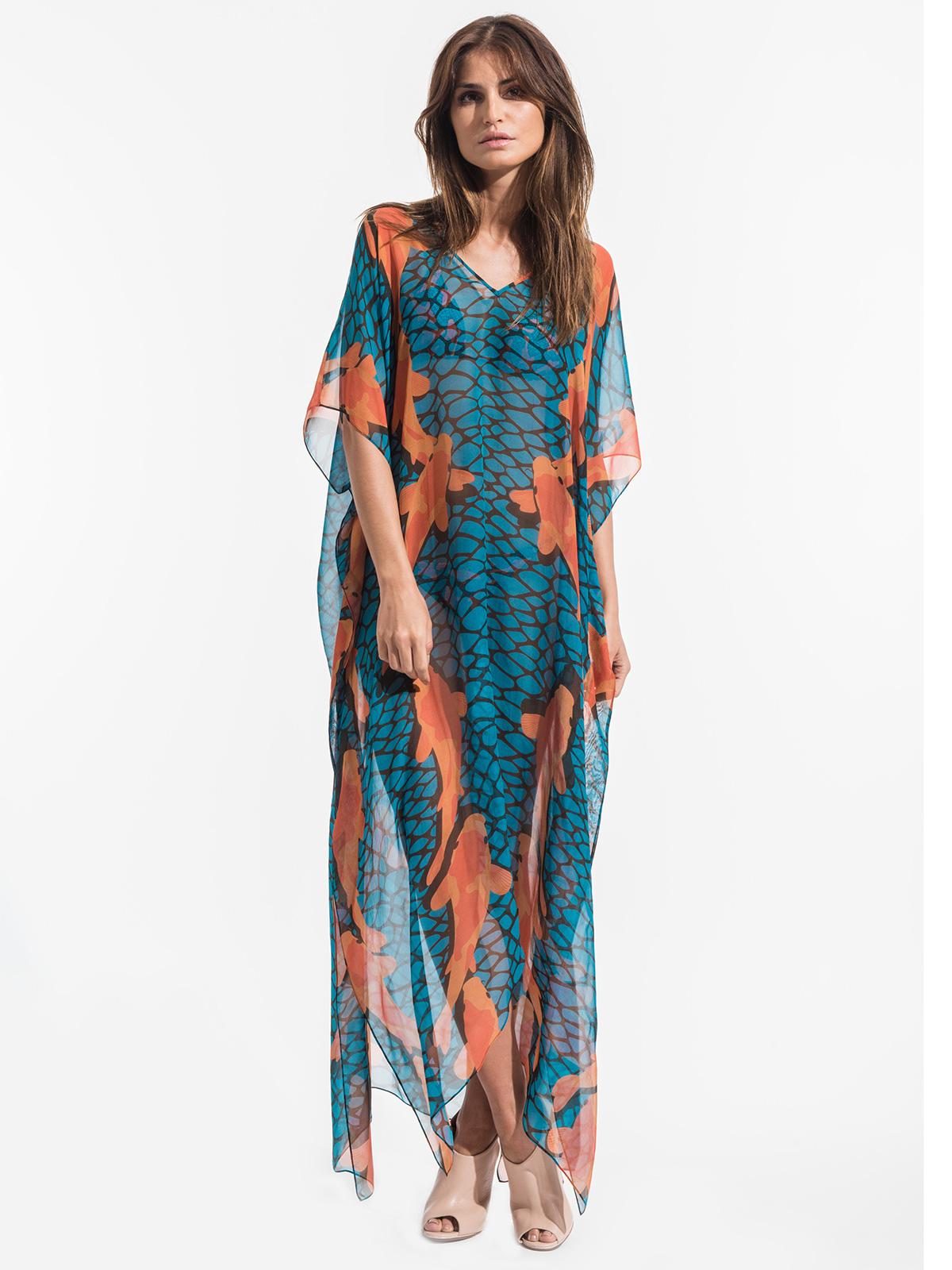 Triya Long Blue Silk Dress With Orange Fish - Dress Carpas Azul