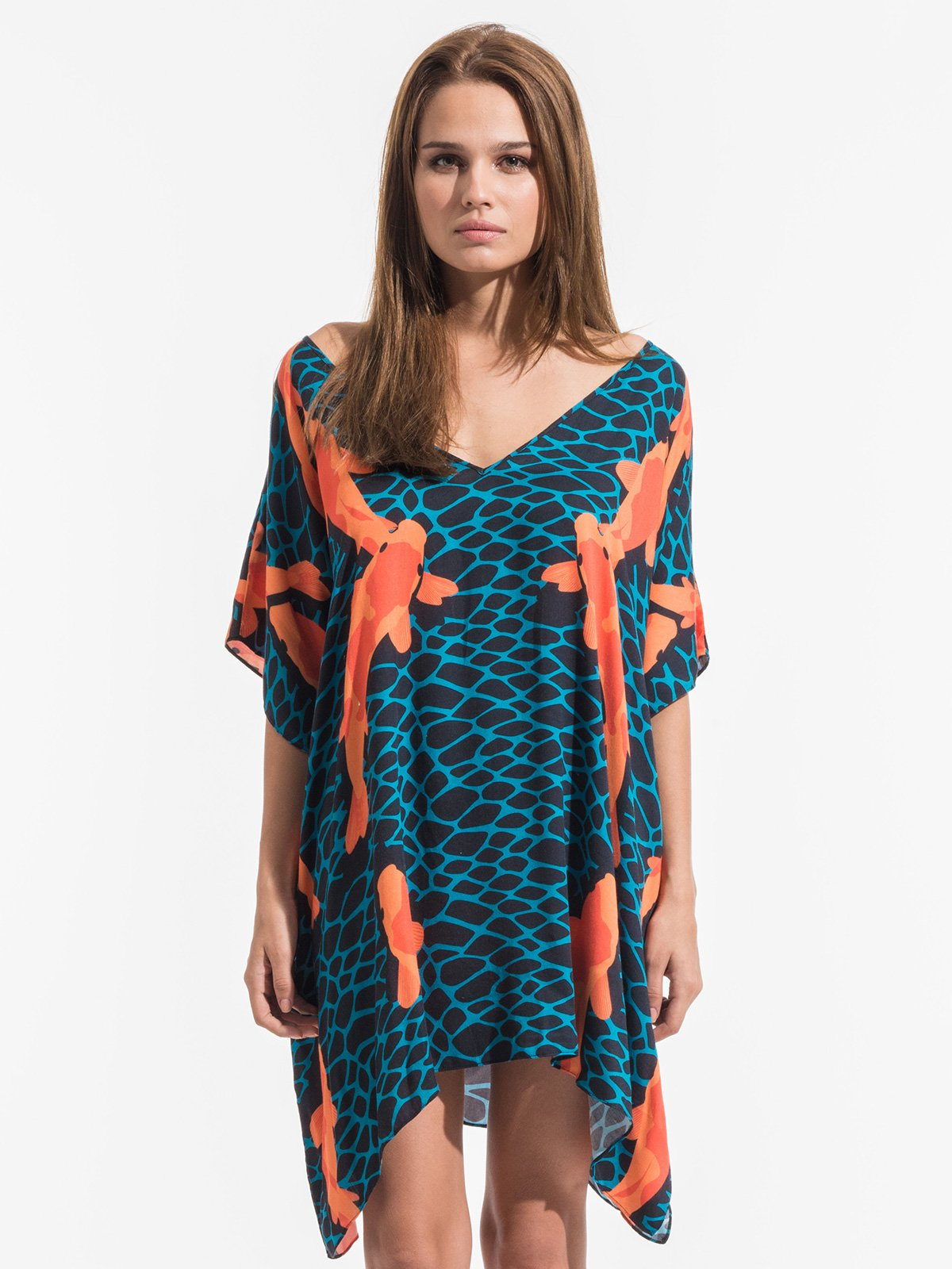 Blue And Orange Kaftan With A V Neck At Front And Back