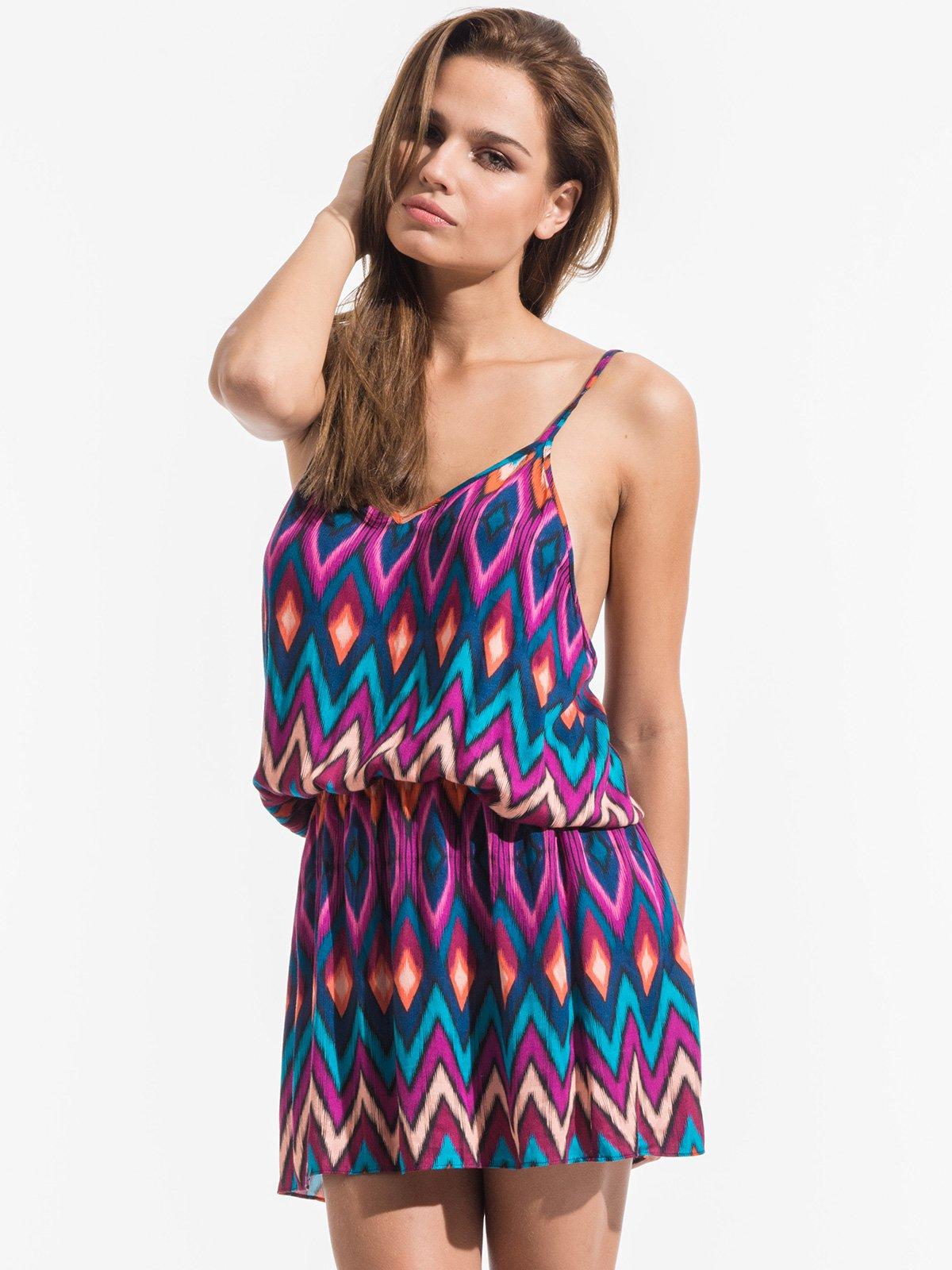 86318c863efd Krátke Ružovo-modré Plážové šaty S Etnickým Vzorom - Phi Verano - Triya