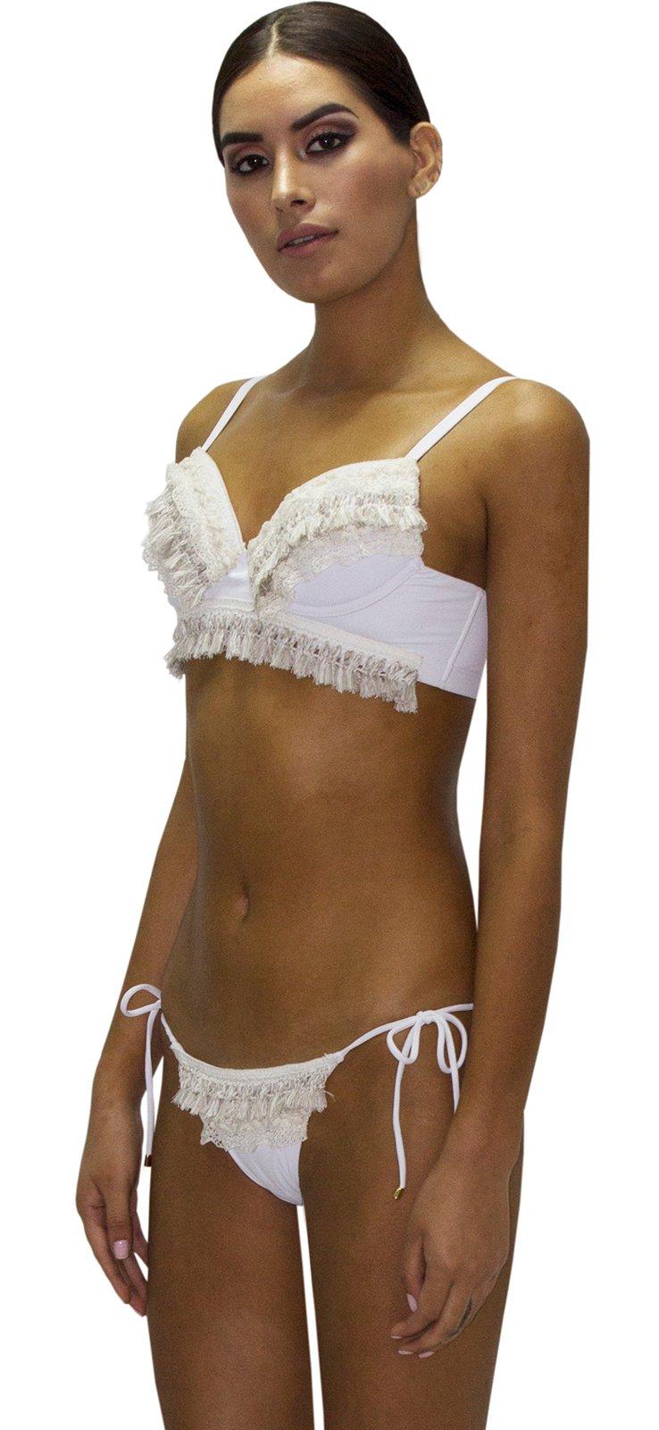 b659033f7601 Bikini Lujo Blanco Con Flecos - Fringe Jungla Natural