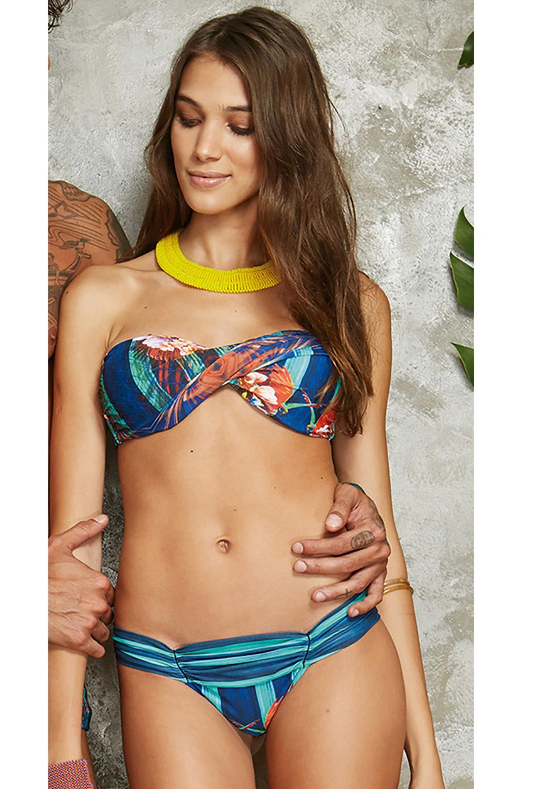 Twisted Bandeau Bikini With Tropical Striped Print