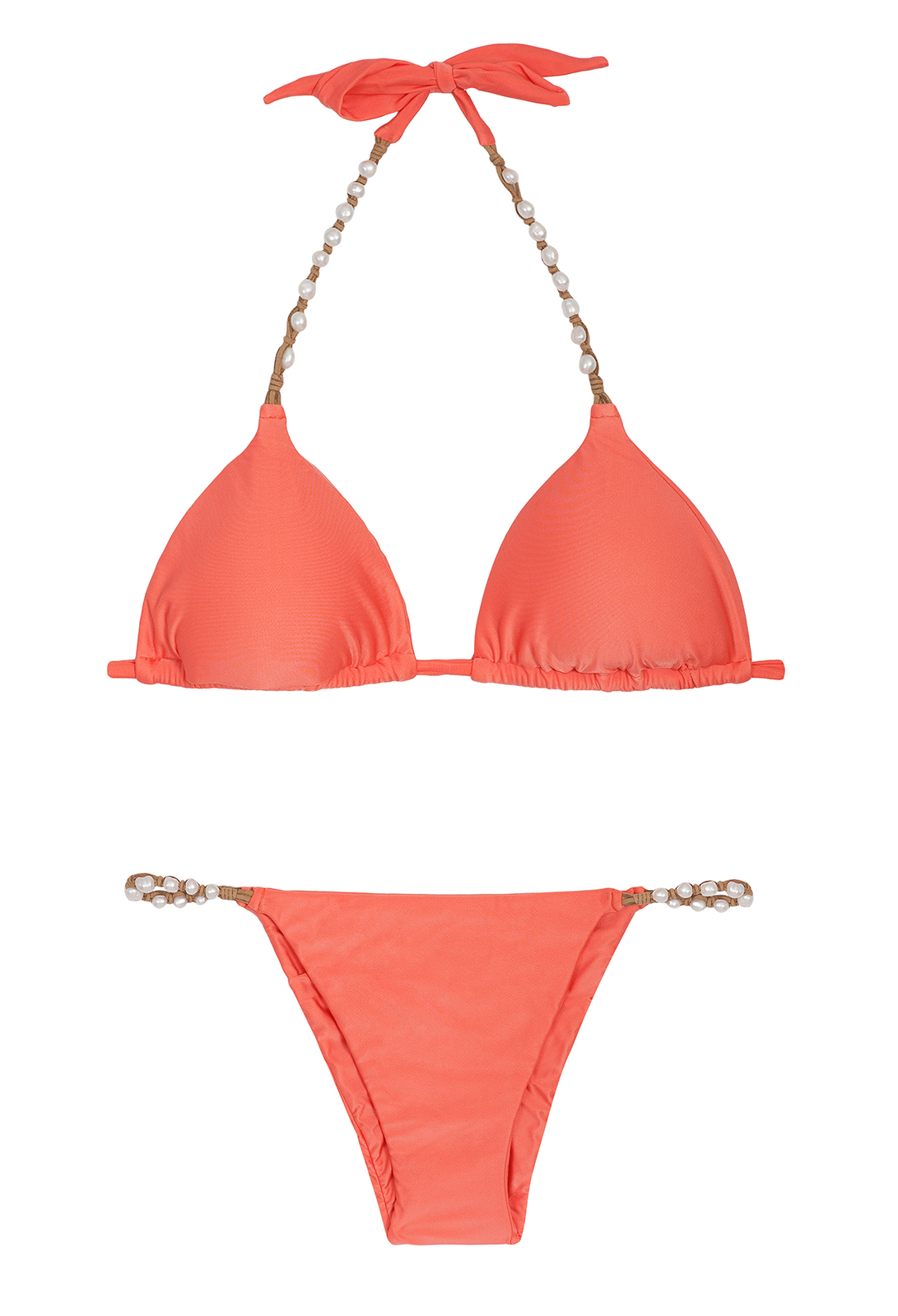despi maillot de bain triangle orange avec perles coral new shelly. Black Bedroom Furniture Sets. Home Design Ideas