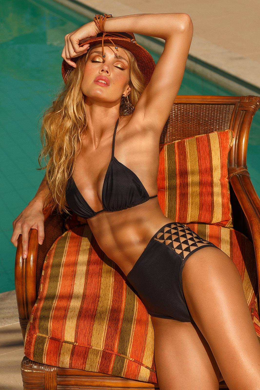 Bikini Negro Talla Grande A La Cintura Con Costados Calados Mar De Espanha Hy Brasil