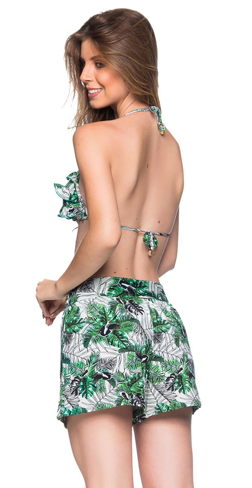 1d518d5ce4 ... Green foliage set: ruffled triangle top & beach short - BABADO VIUVINHA