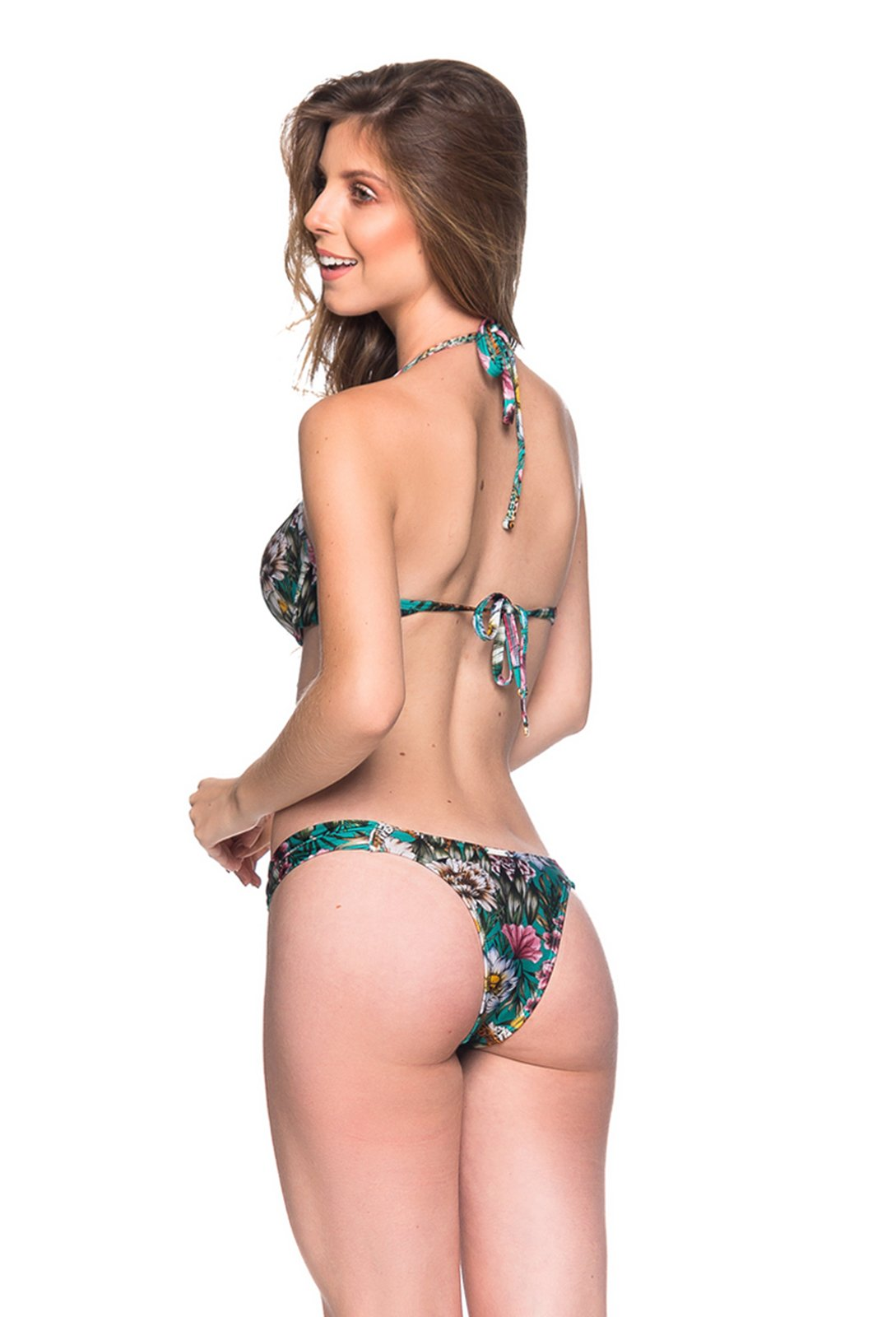 5e75d29710 Green Floral Push-up Balconette Bikini - Bolha Tropical Garden - La ...