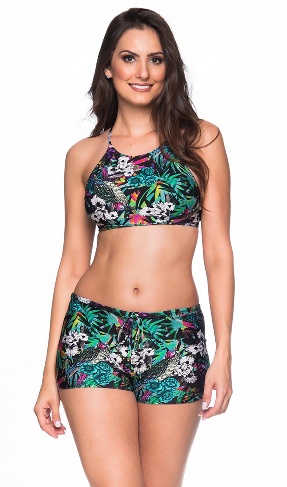 a051e34ff27e Bikini Floral Colorido De Braguita Pantaloncito Y Crop Top - Cruzado Atalaia