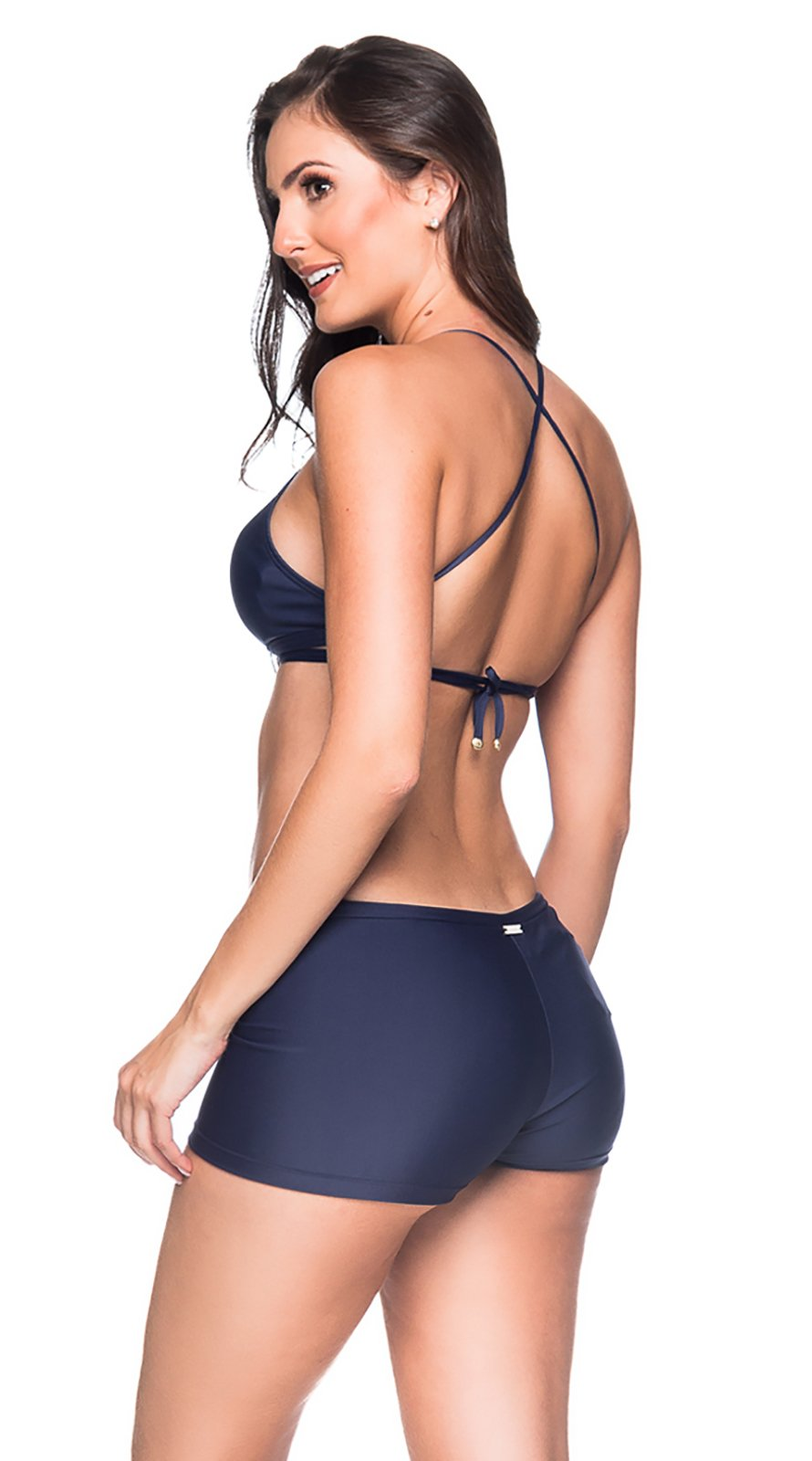 7f115f66f5f0 Bikini Azul Marino Con Crop Top Y Braguita Pantaloncito - Cruzado Miramar