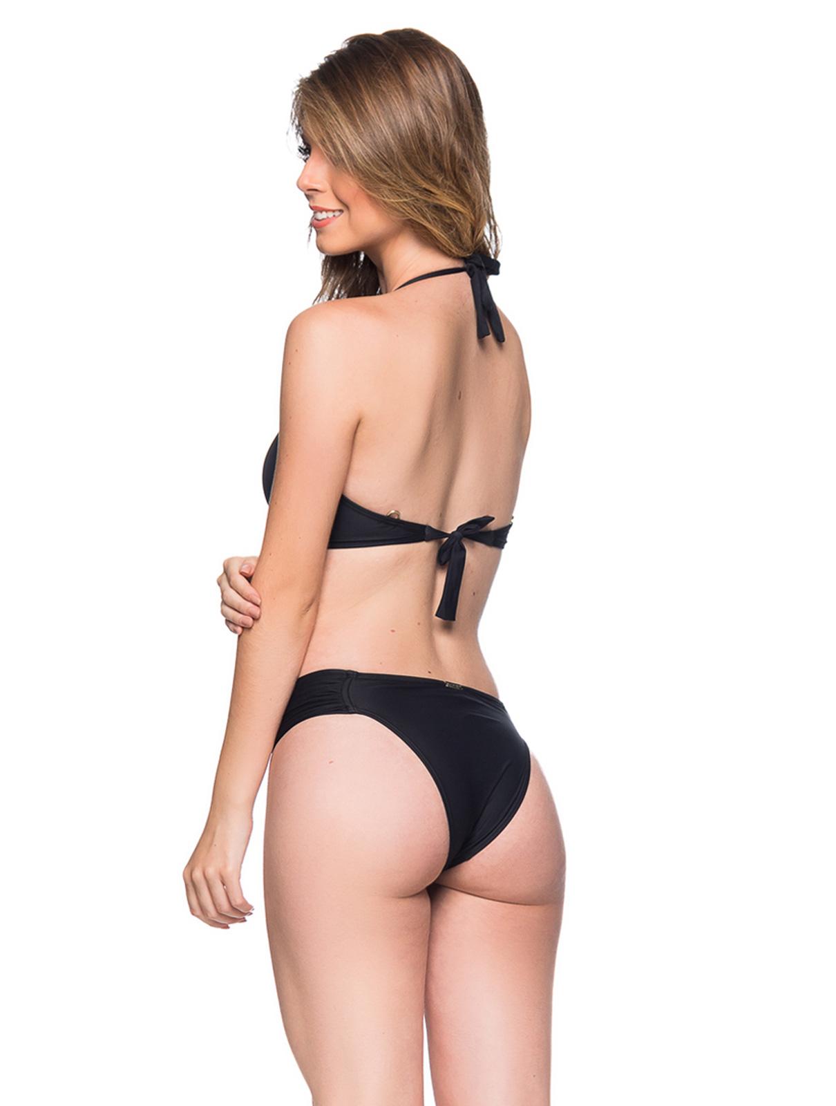 422b2fc6a2031 Black Halter Bikini With Tab Side Bottom And Stones - Drapeada Preto