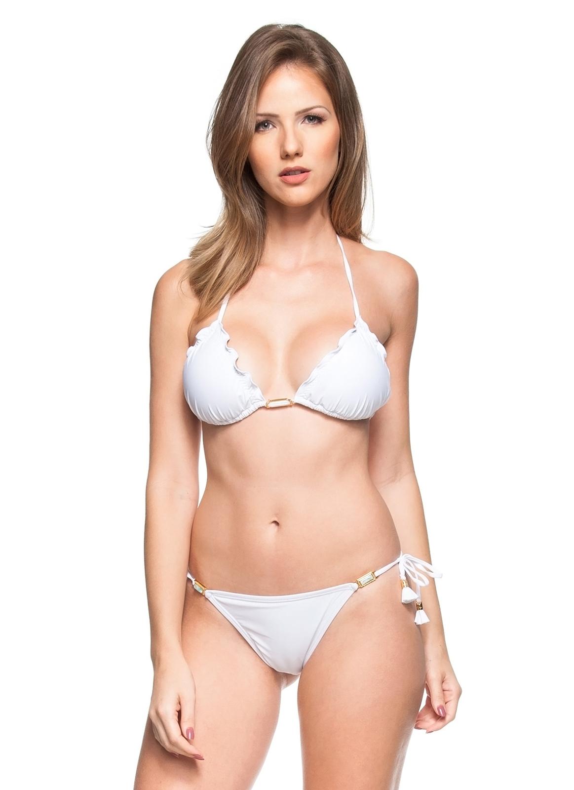 White Scrunch Bikini With Pompons And Jewelry