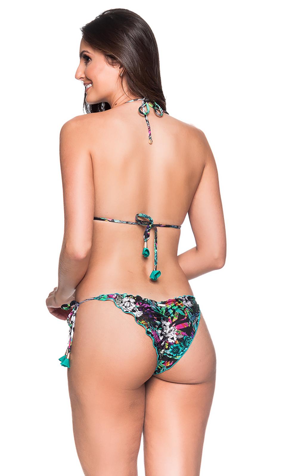 1ce975c420733 Colorful Floral Scrunch Bikini With Pompons - Ripple Atalaia - La Playa