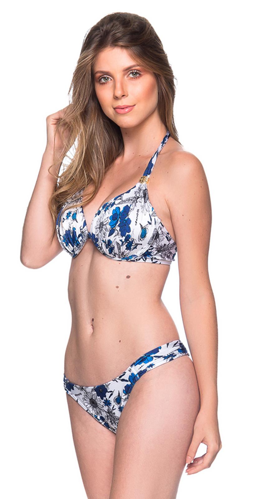 a9911a07d8e Blue & White Floral Bikini With Pleated Sides - Turbinada Atoba - La ...