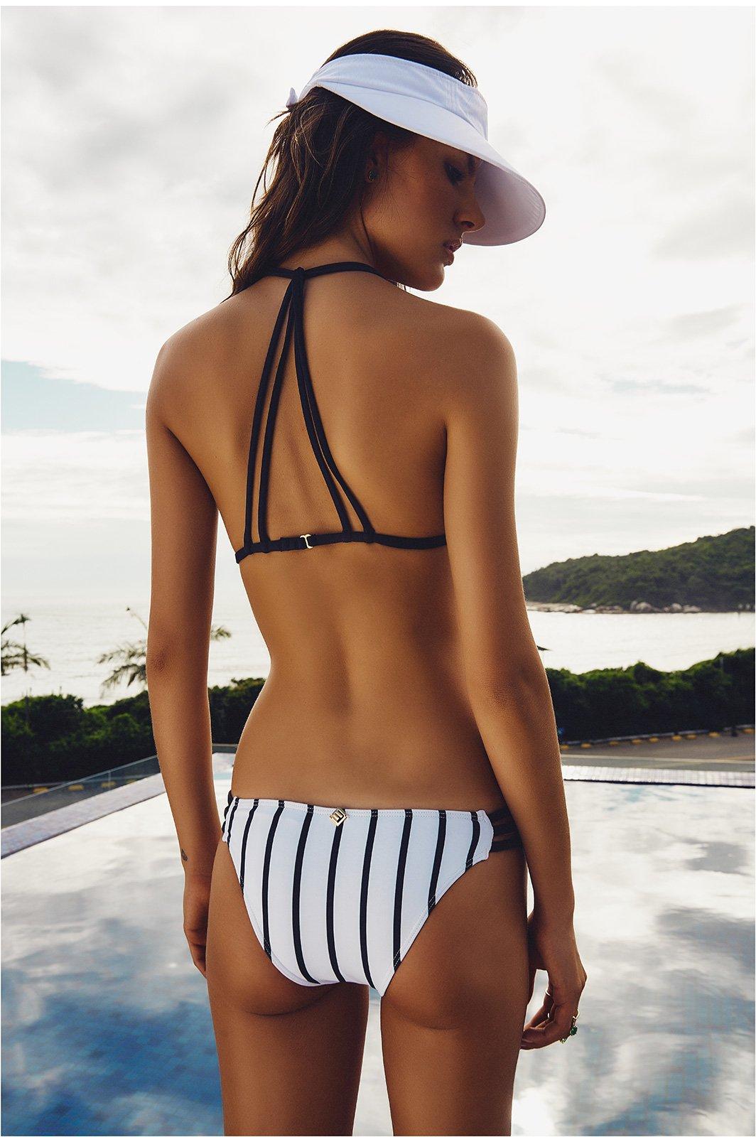 Black And White Striped Bikini