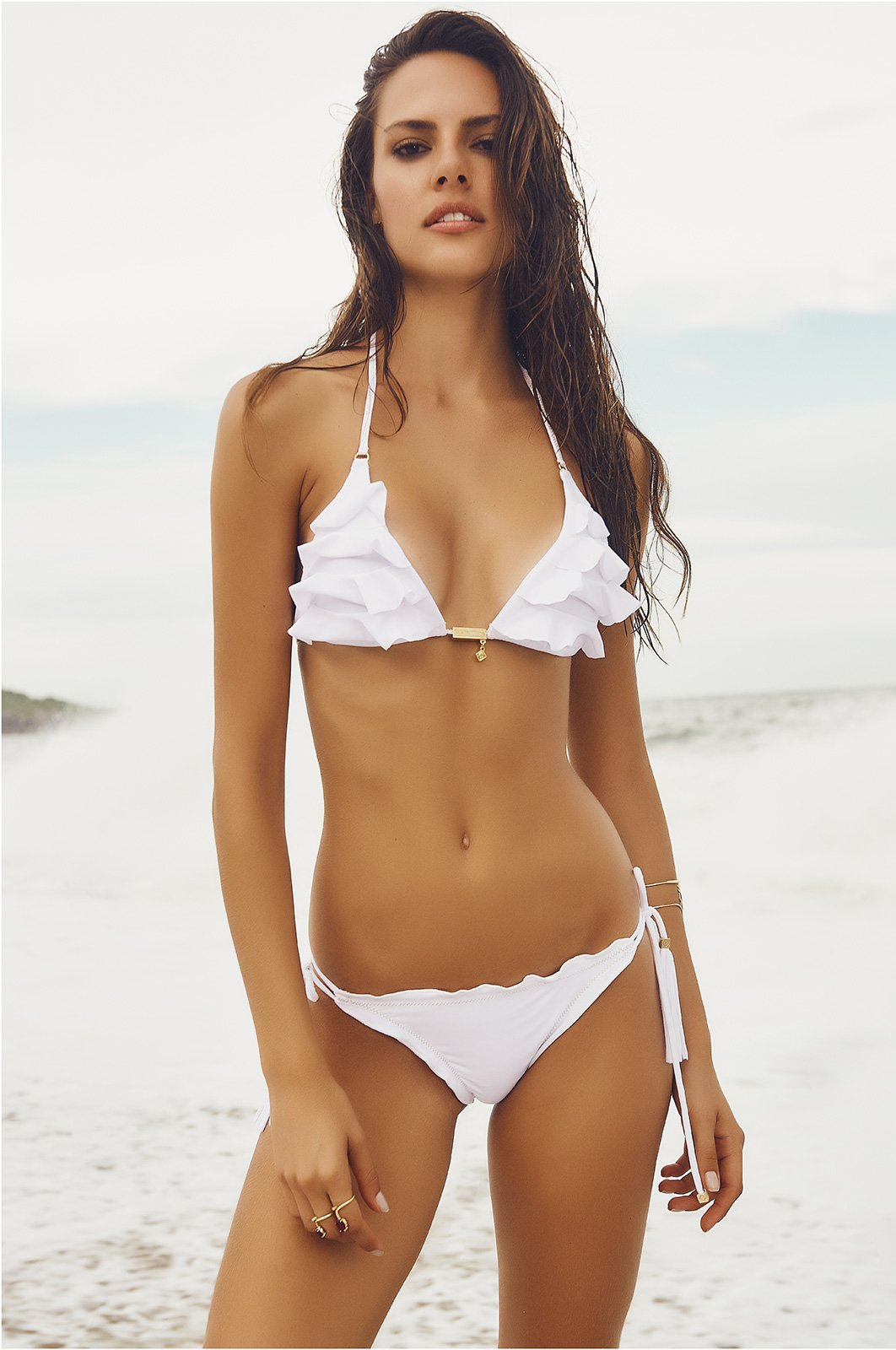 White Ruffle Bikini 31