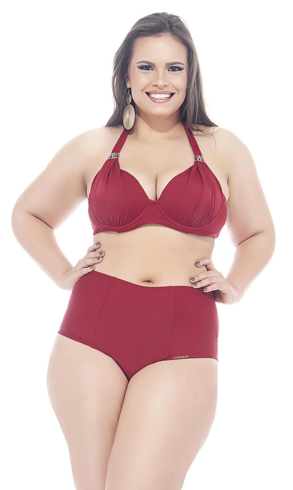 6719027d9a Bikini Taille Haute Rouge Foncé Grande Taille - Pimentinha - Lehona