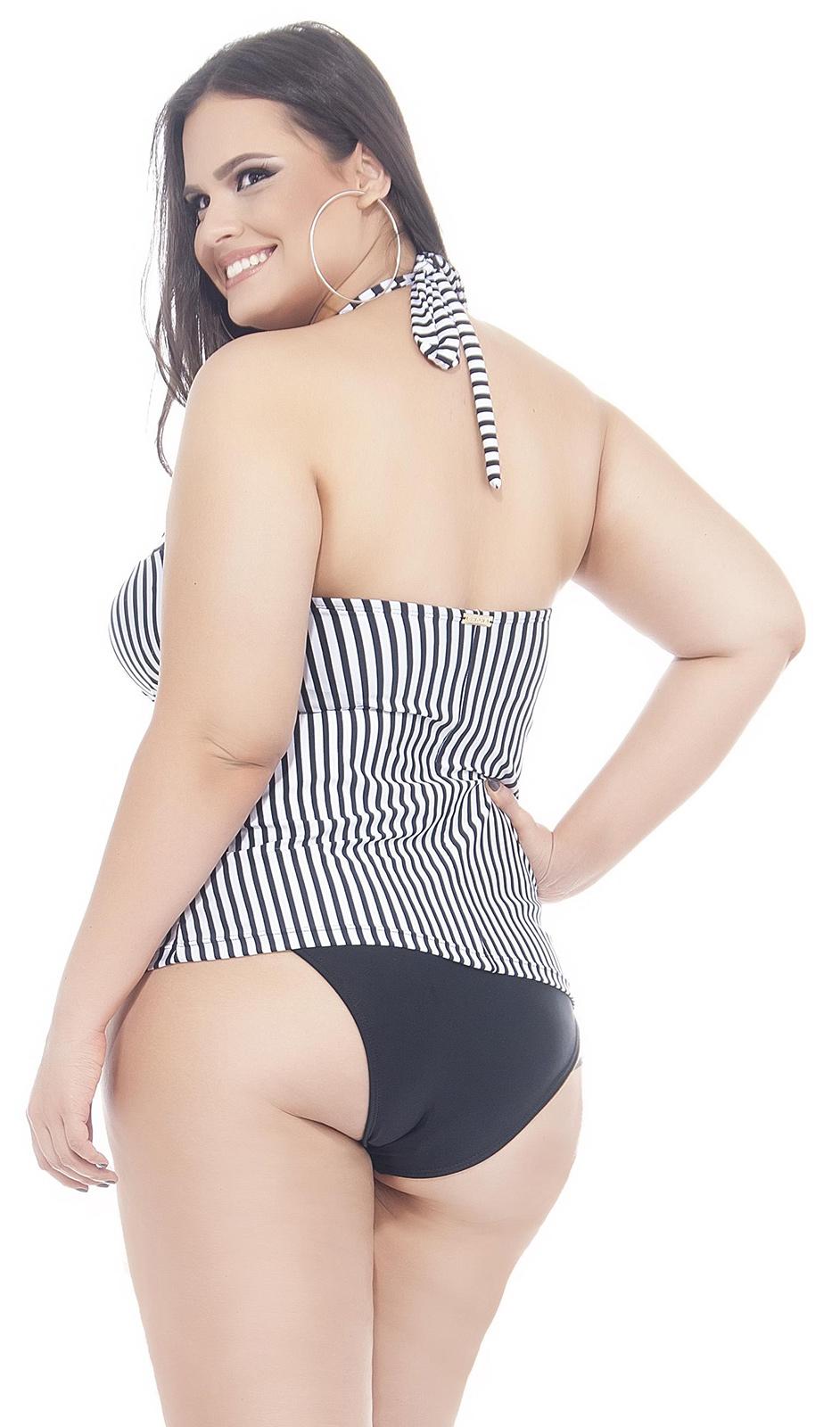 Lehona traje de ba o a rayas blanco y negro talla grande for Traje de bano negro