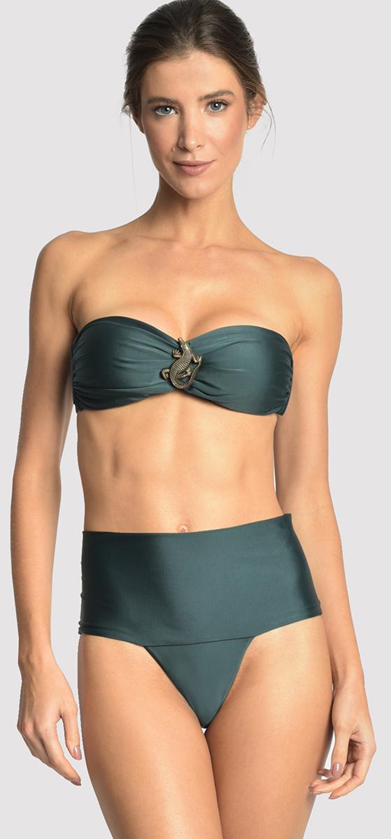 8ac516a224 Dark green high waisted bandeau bikini - EMBELLISHED HI RISE ATLANTIC ...