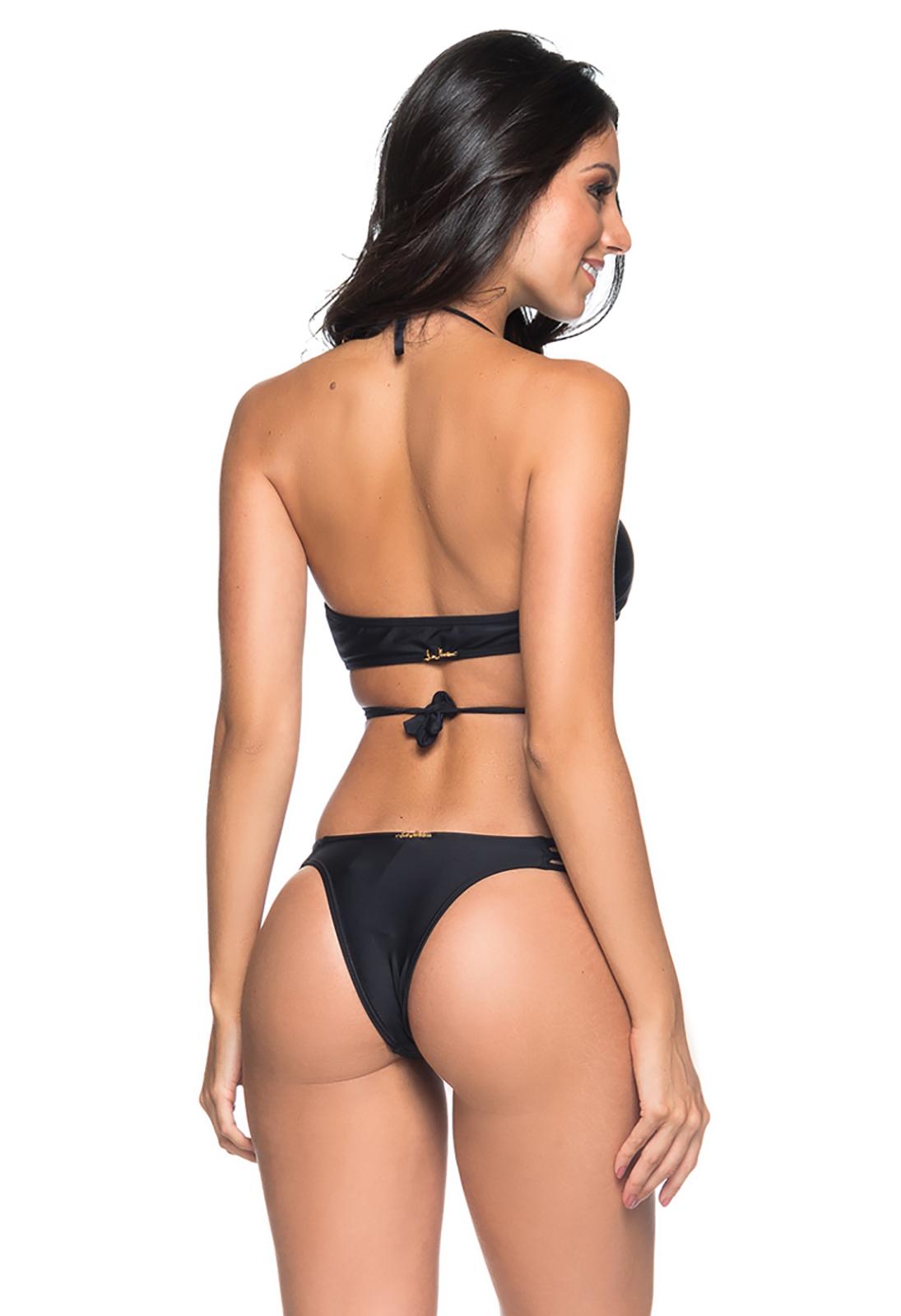 c7fec7075 Black Wrap Bikini With Strappy Bottom - Bojo Cruzado Preto - Lua Morena