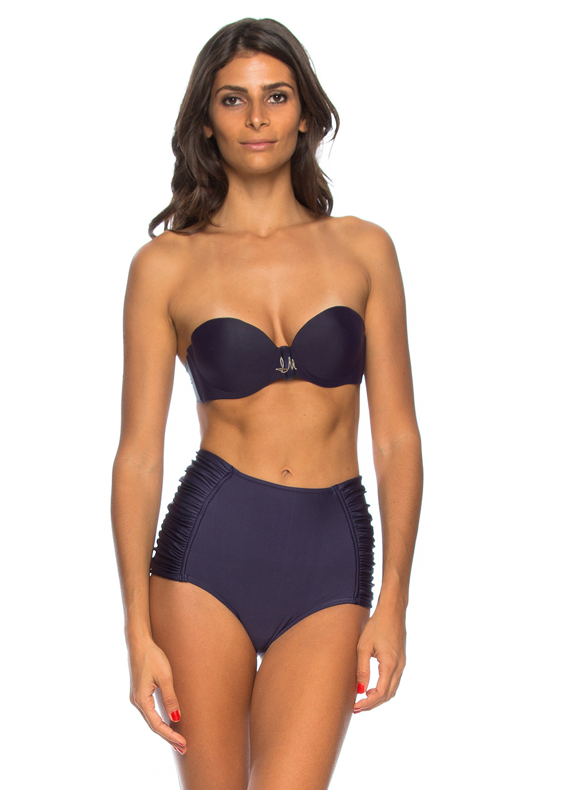 55f8eb62319 Midnight Blue High-waisted Bikini With Bandeau Top - Leonice - Lua ...
