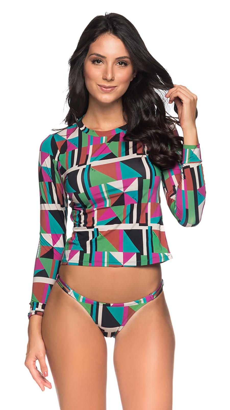 27a012ce64327 Long sleeve bikini in colorful geometric print - LONGA DELAUNAY ...