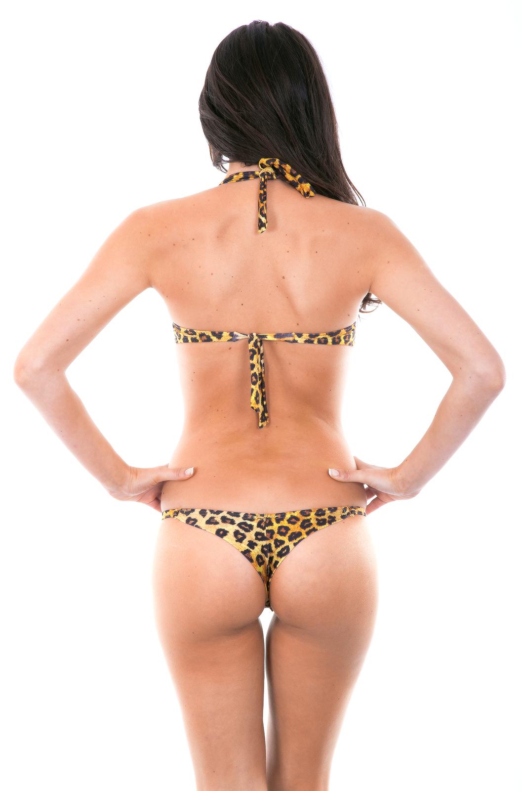 costume da bagno perizoma con stampa animalier e top a fascia con ferretti mini giaguaro