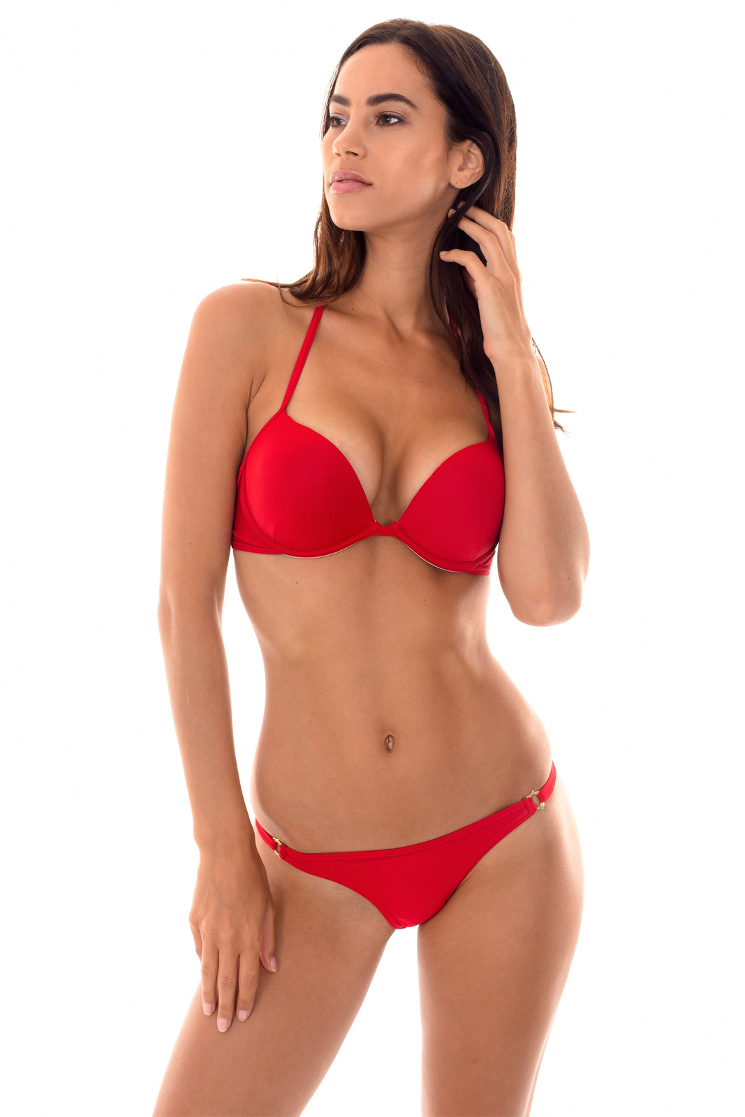 Red Adjustable String Bikini With Push-up Top