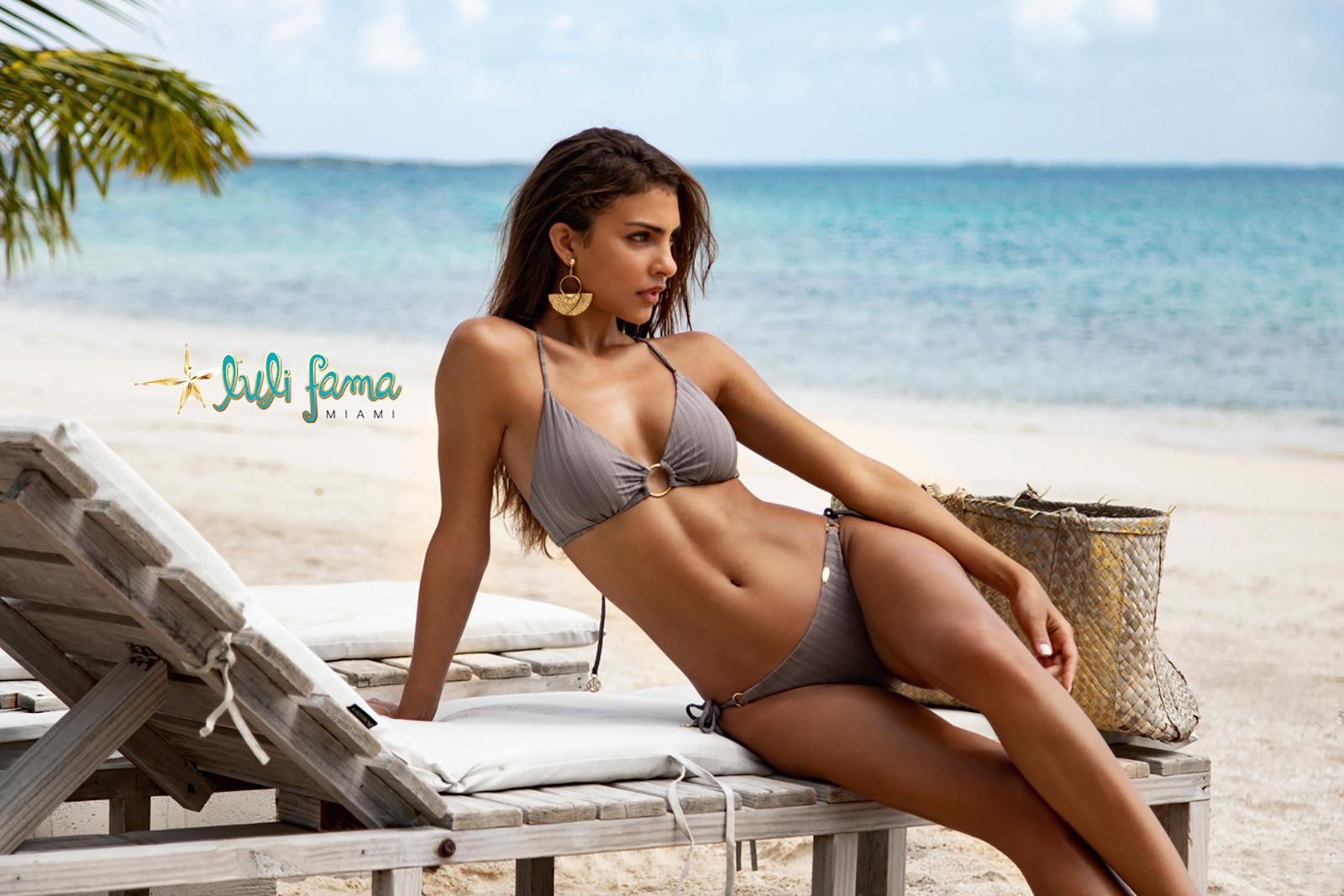 8ecff5c2243 ... Grey high-waisted bikini with crossed back and ring detail - RING GREY  TURI TURAI