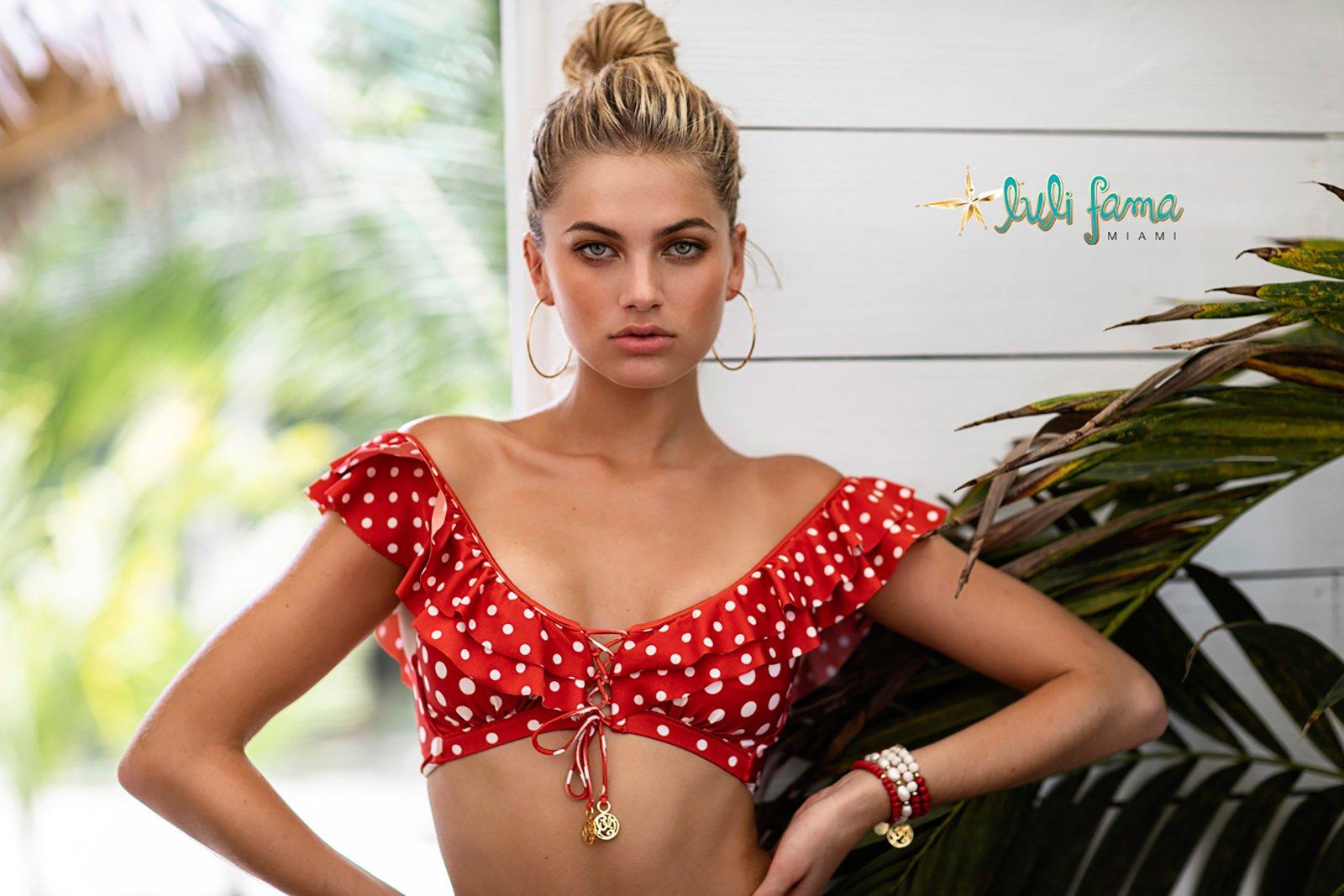 6e795e1e8b58 Two Piece Swimwear Ruffle Red Macarena - Brand Luli Fama