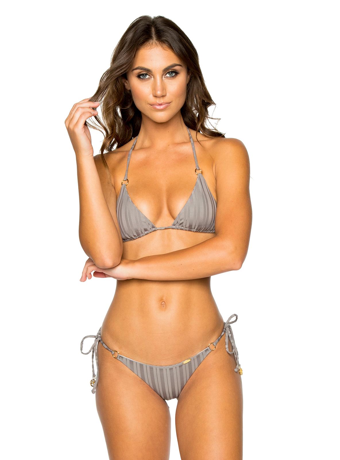 efe118ba7be6c Triangle grey bikini with rings and scrunch bottom - SEAMLESS GREY TURI  TURAI ...
