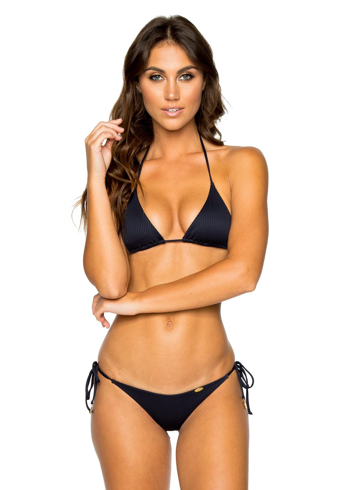 2d86ceee890 Triangle Black Brazilian Bikini With Scrunch Bottom - Seamless Mar Costa  Del Sol - Luli Fama