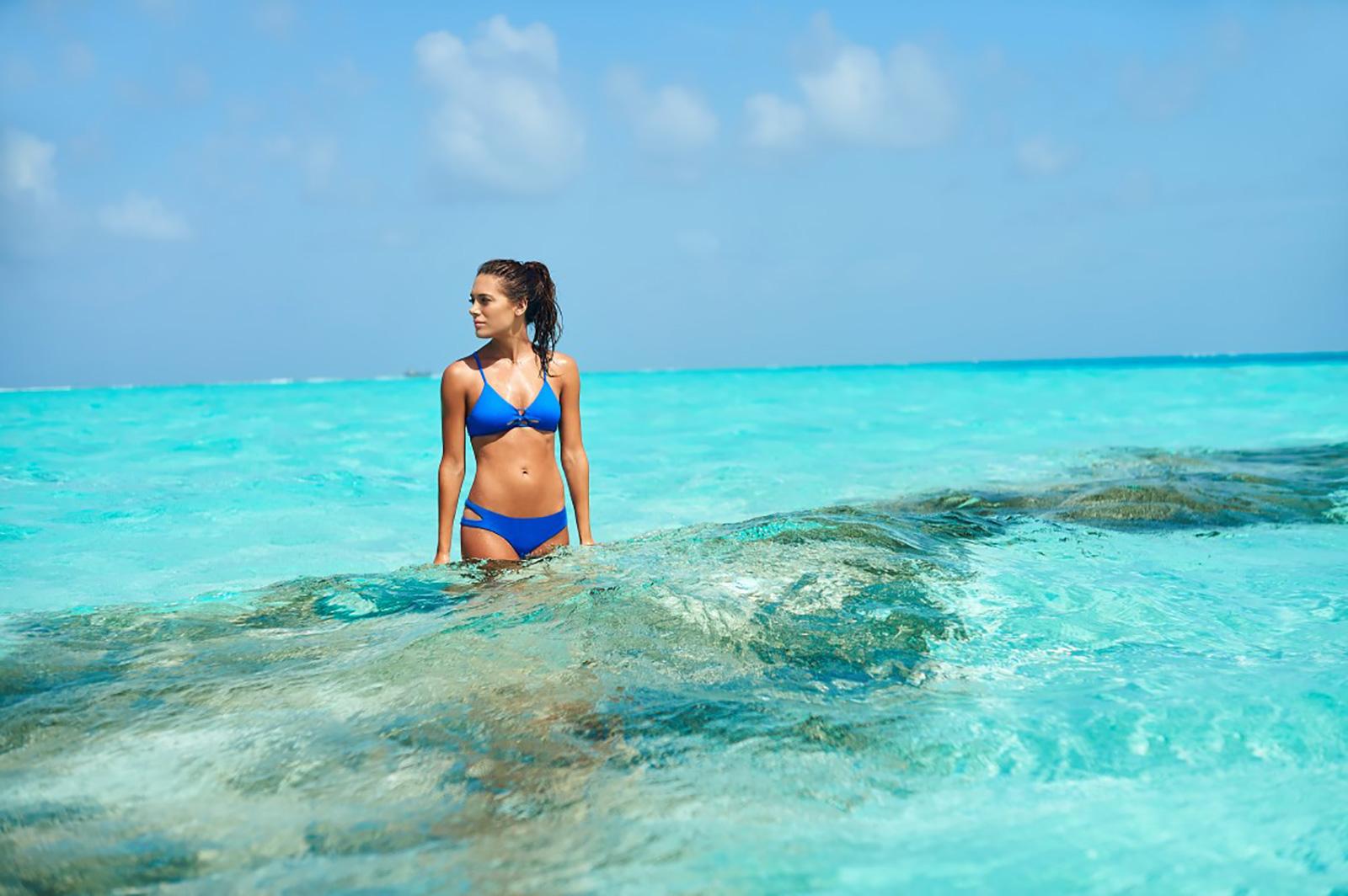 Plain Blue Bikini 90