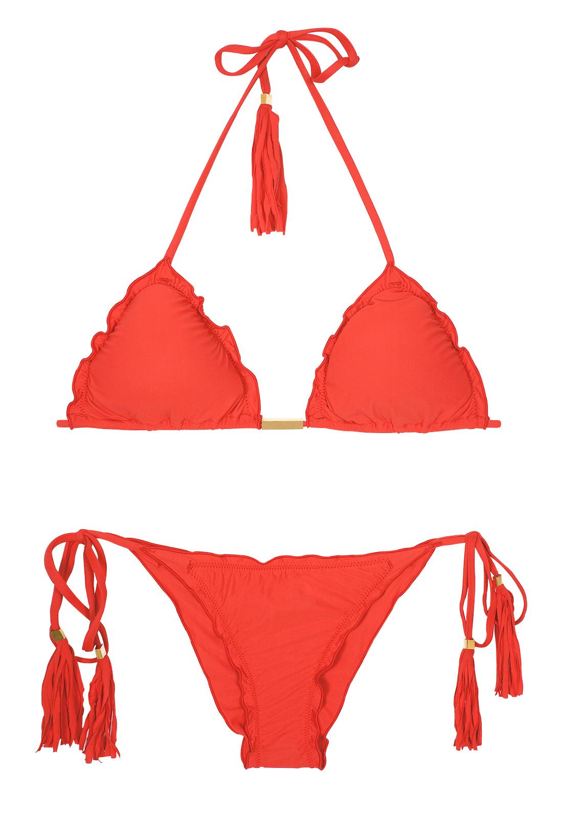4d7d8a2ad2 Red Scrunch Bubble Bikini With Undulated Edges - Ambra Frufru Urucum - Rio  de Sol