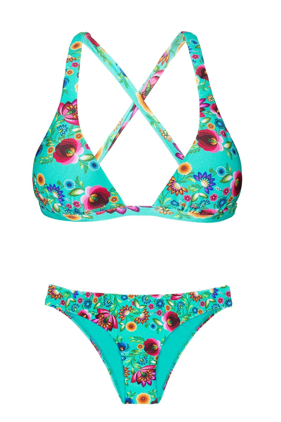 d228a59e7ac7 Bikini Triangulo,cruzado Detrás,flores Azules - Bloom Cortinao