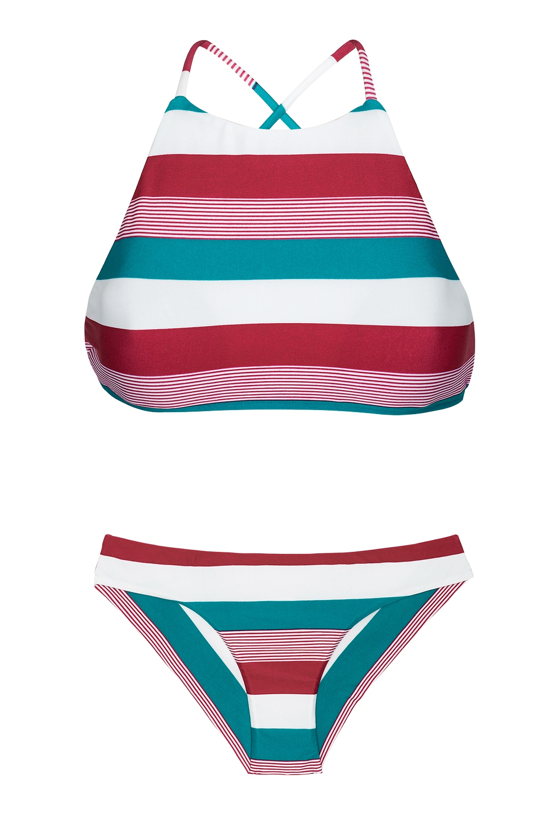 8d1ff304f32 Bikini Gecropte Bikini In Driekleurige Strepen - Buzios Sporty