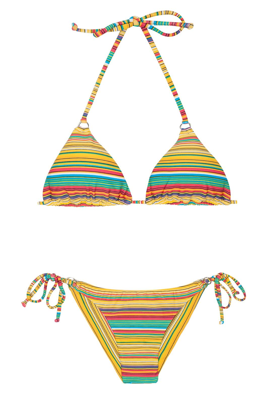 8cdd333ff50160 Bikini Brazylijski Strój Kąpielowy W Paski żółty - Canarinho Cheeky